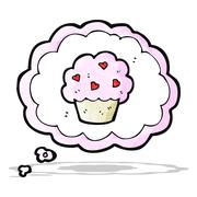 Stock Illustration of cartoon cupcake in thought bubble symbol