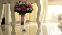 Wedding bouquet in a vase on the floor. - stock footage