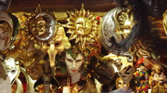 Group of Vintage Venetian carnival masks. - stock footage