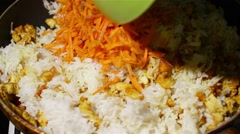 Chicken fried rice cooking of - stock footage