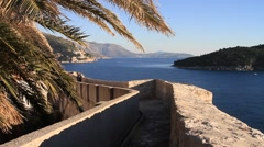 Trail by the Sea in Dubrovnik old city castle Stock Footage