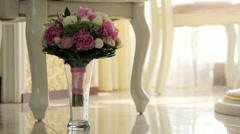 Bridal bouquet in an interior room. - stock footage