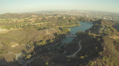Aerial Shot of Lake Hollywood and Downtown Los Angeles Stock Footage
