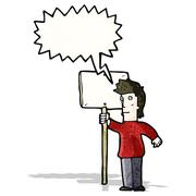 Cartoon chanting protester with sign Stock Illustration