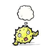 puffer fish cartoon - stock illustration