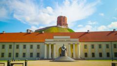 Lithuanian National Museum and the Tower of Gediminas, 4K hyper time-lapse Stock Footage