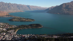 QUEENSTOWN LAKE MOUNTAINS SOUTH ISLAND NEW ZEALAND - stock footage