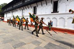 nepali soldiers - stock photo