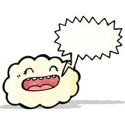 Stock Illustration of happy cloud with speech bubble