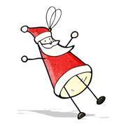 cartoon santa christmas tree decoration - stock illustration
