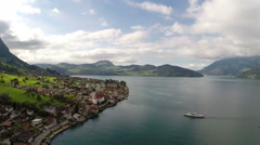 Aerial footage of lake Lucerne, Switzerland Stock Footage
