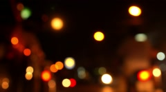 Blurred Defocused Lights of Traffic on Road at Night. Stock Footage