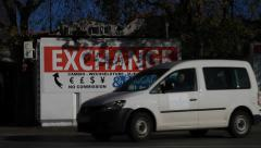 Money exchange kiosk on street in Split Stock Footage