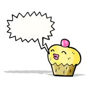 Stock Illustration of cartoon cupcake with speech bubble