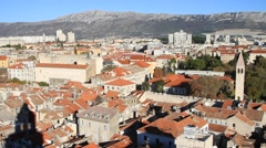Pan right shot of panoramic view of Split main town, Croatia Stock Footage