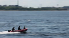 Rigid Inflatable Boat high speed Stock Footage