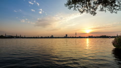 Sunset by Hamburg alster lake - DSLR dolly shot timelapse Stock Footage