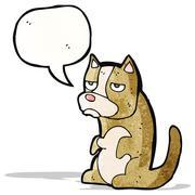 cartoon grumpy little dog - stock illustration