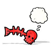 Stock Illustration of cartoon spooky fish bones