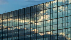 4K Clouds on glass Facade - modern architecture in Hamburg Timelapse Stock Footage