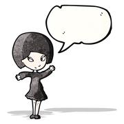 cartoon goth girl with speech bubble - stock illustration
