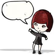 Stock Illustration of cartoon goth girl with speech bubble