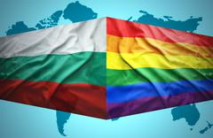waving bulgarian and gay flags - stock illustration