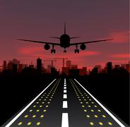 The plane is taking off at sunset and night city Stock Illustration