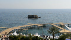 Panning of beach at the luxury hotel, Antalya, Turkey Stock Footage