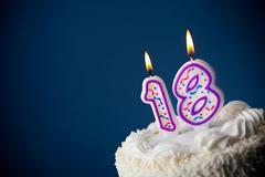 cake: birthday cake with candles for 18th birthday - stock photo