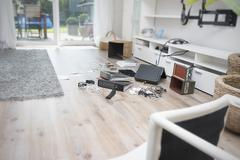 Chaos after burglary in an one-family house - stock photo