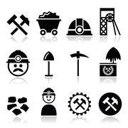 Coal mine, miner icons set Stock Illustration