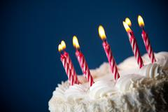 cake: birthday cake with candles for any birthday - stock photo