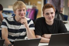 Vocational school students in computer lab Stock Photos