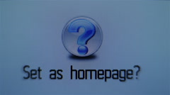 Set as homepage, question mark, done Stock Footage