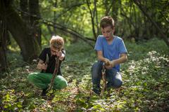 Two boys chopping branches with axes in a forest - stock photo