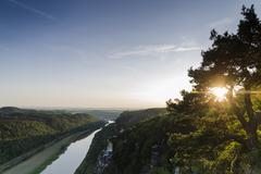 Germany, Saxony, Saxon Switzerland, View from the Bastei, Elbe river - stock photo