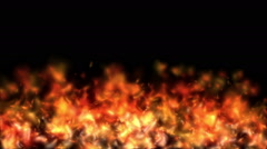 Seamless Looping Animation of Fire Flame on black background. HQ Video Clip Stock Footage