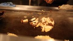 Mushroom Sautee in Japanese Restaurant Stock Footage