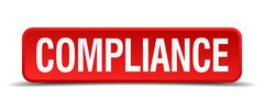 Compliance red three-dimensional square button isolated on white background Stock Illustration