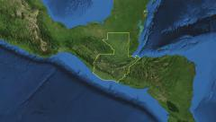 Guatemala. 3d earth in space - zoom in on Guatemala contoured 4k Arkistovideo