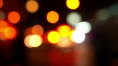 Night Road with Colorful Unfocused Lights. Stock Footage