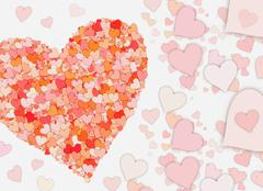 many small red hearts on white backgrounds - stock illustration