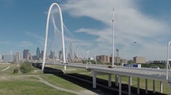 Dallas Skyline Aerial through Margaret Hunt HIll Bridge Stock Footage