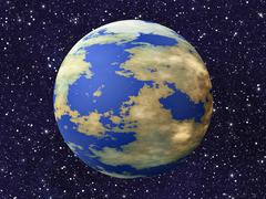 one earth planet on many cosmos stars backgrounds - stock illustration