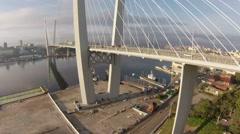 Long bridge, aerial view Stock Footage