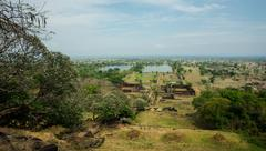 view from the mountain at vat phu temple - stock photo