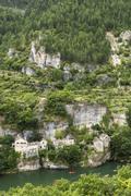 France, Longuedoc-Roussillon, Gorges du Tarn, Auberge de la Cascade - stock photo