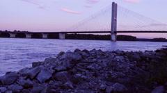 Mississippi River Bridge At Sunset Stock Footage
