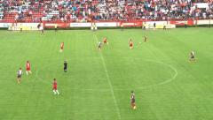 Chance to goal, football player kick ball with head, but goalkeeper save goal. Stock Footage